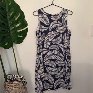 Island Company blue leaf pattern dress